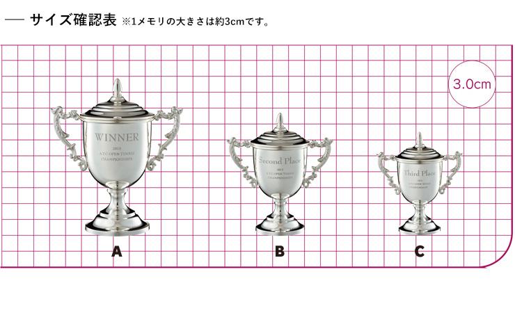 JV-VOC-170 カップに直接オリジナル彫刻が可能な高級優勝カップ サイズ比較表